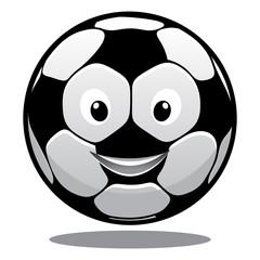 Happy cartoon smiling soccer ball