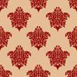 Ornate maroon damask style seamless pattern