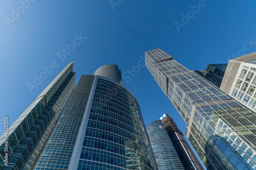 Skyscraper on the background of blue sky