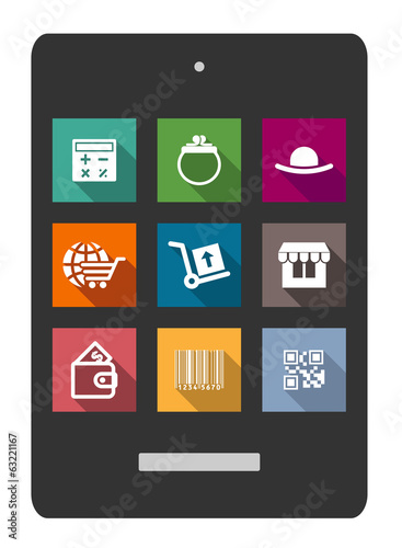 Set of shopping or e-commerce flat icons