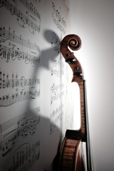 Shadow of violin. Vintage style.