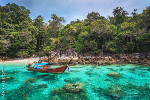 Longtail boat and beautiful ocean of Koh Lipe, Thailand