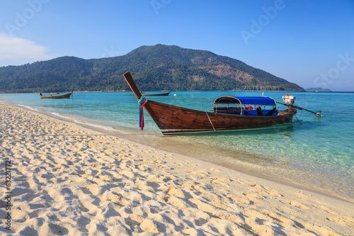 Longtail boat and beautiful beach of Koh Lipe, Thailand