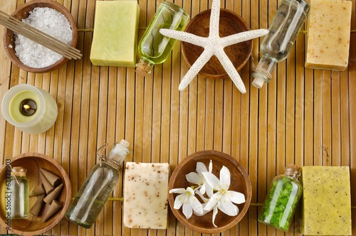 Set of tropical spa on bamboo mat