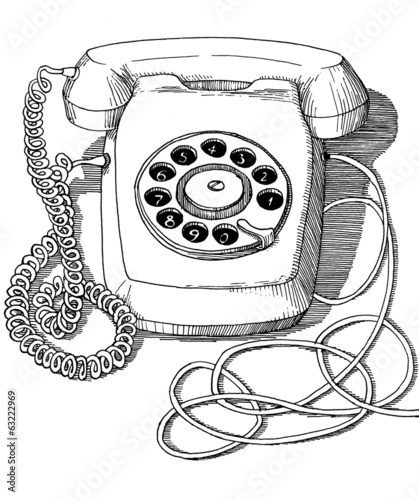 Vintage rotary disc telephone drawing ink isolated on white back