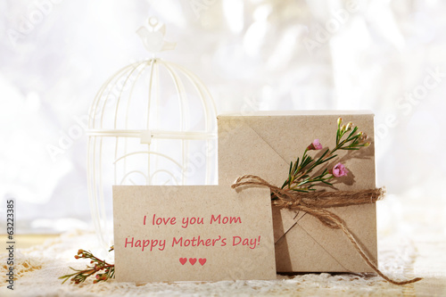 I love you Mom, card and gift box