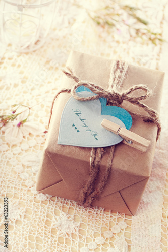 Gift Box with heart-shaped tags - (Thinking of You) message