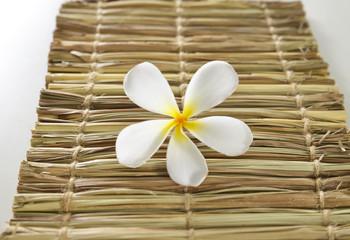 frangipani flowers on woven wicker mat