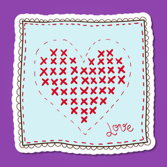 Handkerchief with heart embroidery.