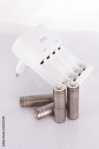 isolated of the AA battery with charger is energy refill on whit