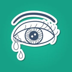 Crying eye with tears.
