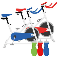 Exercise Bikes And Bottles Illustrations Isolated