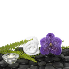 roller towel with green fern and orchid ,candle on black stones