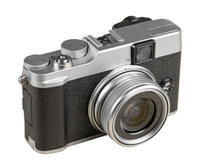 Vintage rangefinder style camera isolated on white