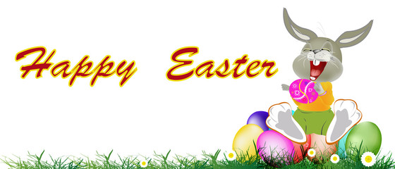 Happy Rabbit and Easter Eggs.Holiday Happy Easter