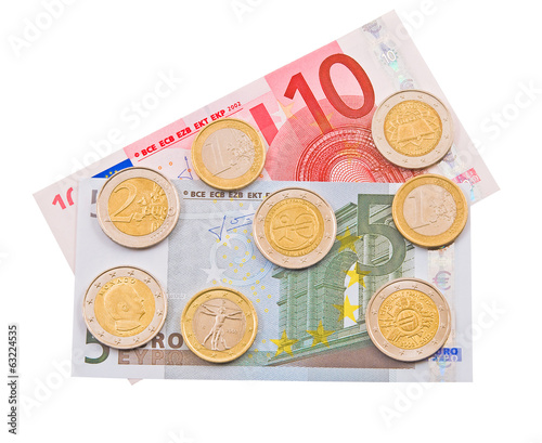 Coins and colorful bills of Europe.