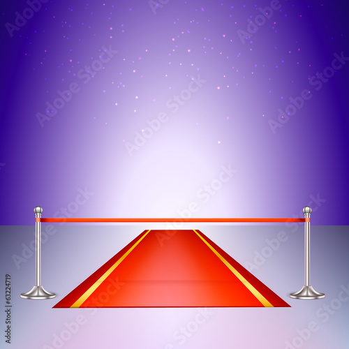 Red carpet with a scarlet ribbon.
