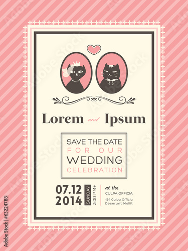 Cute Wedding invitation frame template