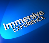 Immersive Experience 3d Blue Words Total Involvement Background poster