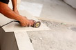 floor tile installation for house building - 63225355