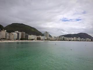 Beach Copacabana in rainy day, Rio de Janeiro
