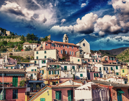 Quaint Village of Vernazza, Cinque Terre. Beautiful colorful hom