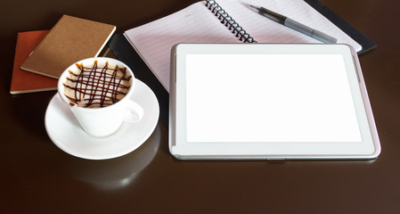Hot coffee and tablet