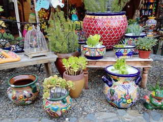 Wide array of selections at the pottery outdoor market