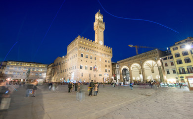 Piazza della Signoria at night in Florence, wide angle view