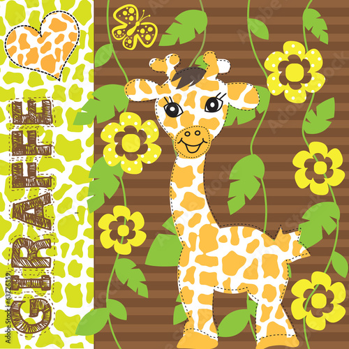 giraffe baby vector illustration