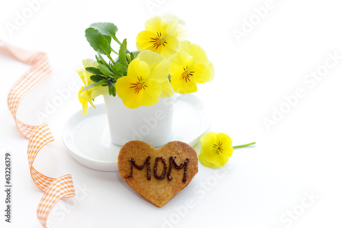 Pansys and cookie for Mom