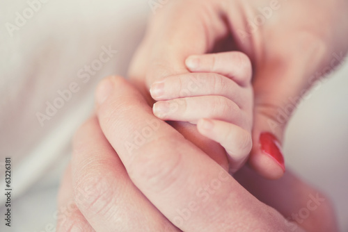 Hand a newborn in the hands of parents