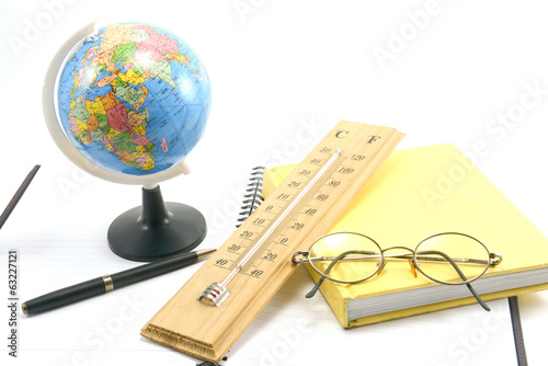 stationary with science tool , isolated on white background