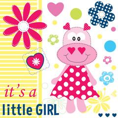 hippo baby girl shower card vector illustration