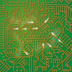 Grüne Computerplatine mit Verdrahtungen