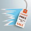 White Fastest Price Sticker Silver Background