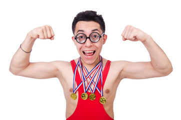 Funny wrestler with winners gold medal