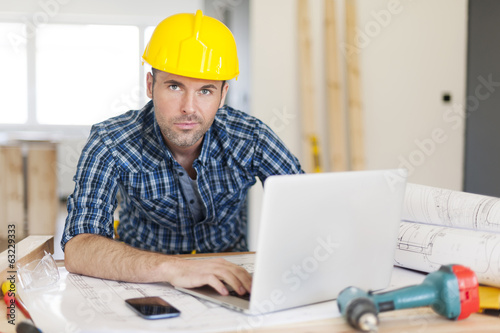 Manly construction worker at work