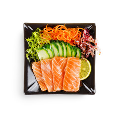 traditional fresh japanese sashimi on a white background
