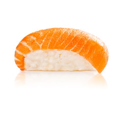traditional fresh japanese sushi on a white background