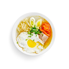 japanese traditional soup with rice noodles on a white backgroun