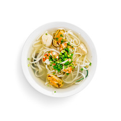 japanese traditional soup with seafood on a white background