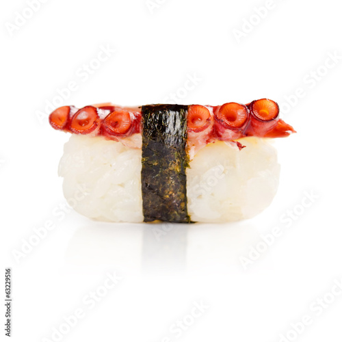 traditional fresh japanese sushi on a white background
