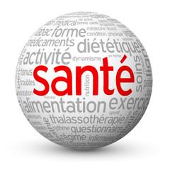 """Globe - Nuage de Tags """"SANTE"""" (sports médecine stress bien-être)"""