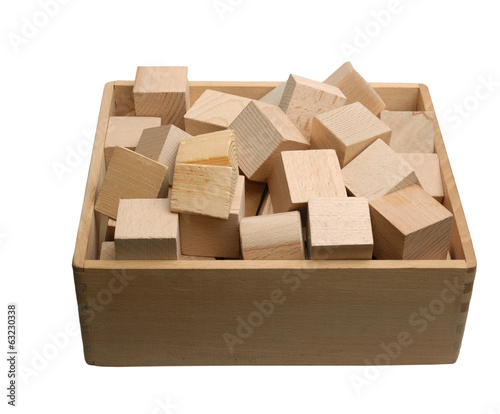 Box of wooden bricks isolated