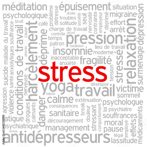 "Nuage de Tags ""STRESS"" (surmenage anxiété dépression fatigue)"