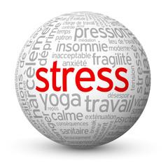 """Globe - Nuage de Tags """"STRESS"""" (surmenage anxiété dépression)"""