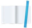 Exercise book with ruler