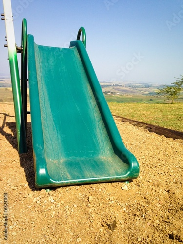 the green slide in the playground
