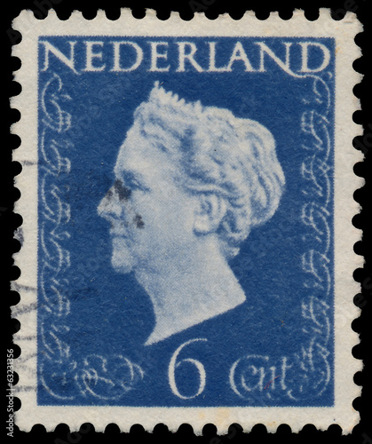 Stamp printed in the Netherlands shows Queen Wilhelmina